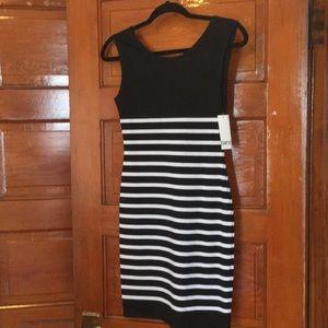Bar III Black and white striped short dress